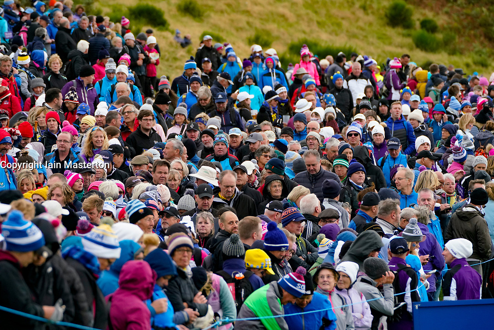 Auchterarder, Scotland, UK. 14 September 2019. Saturday afternoon Fourballs matches  at 2019 Solheim Cup on Centenary Course at Gleneagles. Pictured; Crowds of spectators beside fairway on 8th hole. Iain Masterton/Alamy Live News