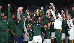 South Africa's Siya Kolis lifts the Webb Ellis cup after South After win the 2019 Rugby World Cup final match at Yokohama Stadium.