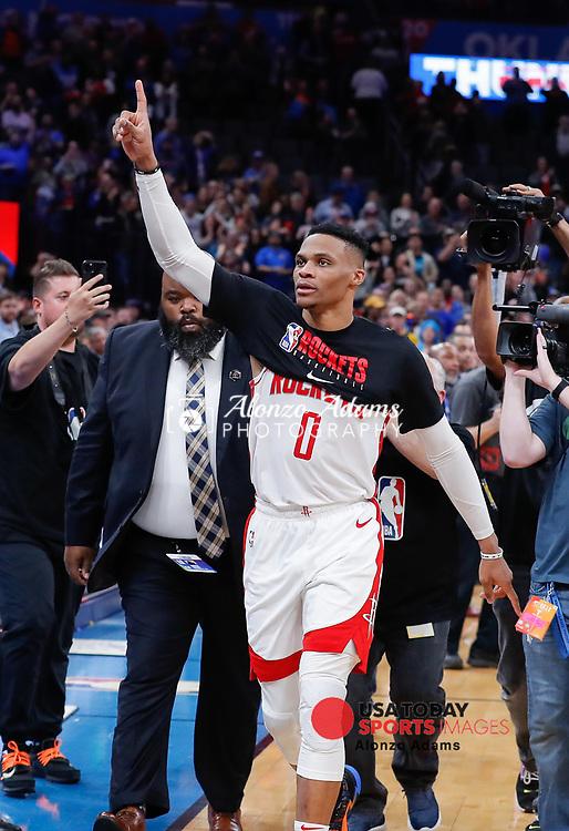 Jan 9, 2020; Oklahoma City, Oklahoma, USA; Houston Rockets guard Russell Westbrook (0) waves to fans following a game against the Oklahoma City Thunder at Chesapeake Energy Arena. Oklahoma City won 113-92. Mandatory Credit: Alonzo Adams-USA TODAY Sports