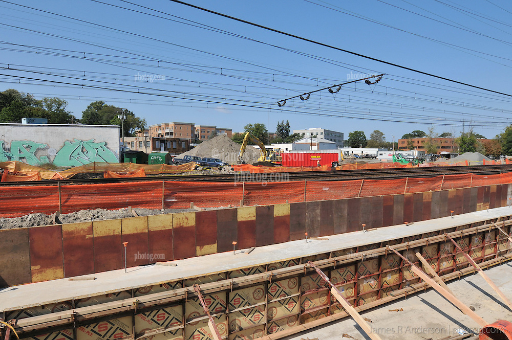 Bridge Abutment Foundation, Poured and Forms in Place. Construction Progress Photography of the Railroad Station at Fairfield Metro Center - Site visit 3 of once per month Chronological Documentation