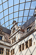 Inner Courtyard of Dresden Castle with foil cushion roof made with Dyneon ETFE. Architect: Peter Kulka. Built: 2012