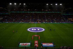 CARDIFF, WALES - Sunday, October 13, 2019: Wales and Croatia flags are laid out before the UEFA Euro 2020 Qualifying Group E match between Wales and Croatia at the Cardiff City Stadium. (Pic by Paul Greenwood/Propaganda)
