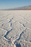 Mosaic patterns in salt pan at sunrise, Death Valley National Park, California