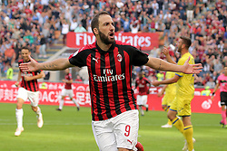 October 7, 2018 - Milan, Milan, Italy - Gonzalo Higuain #9 of AC Milan celebrates after scoring the his goal during the serie A match between AC Milan and Chievo Verona at Stadio Giuseppe Meazza on October 7, 2018 in Milan, Italy. (Credit Image: © Giuseppe Cottini/NurPhoto/ZUMA Press)