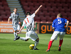 Dunfermline's Joe Cardle (11) scoring their fourth goal. <br /> Half time : Dunfermline 4 v 0 Cowdenbeath, SPFL Ladbrokes League Division One game played 15/8/2015 at East End Park.