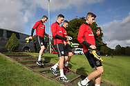 Wales players inc Tom Lawrence © arrive for the Wales football team training at the Vale Resort, Hensol , South Wales on Monday 2nd October 2017, the team are preparing for their FIFA World Cup qualifier away to Georgia this week. pic by Andrew Orchard, Andrew Orchard sports photography