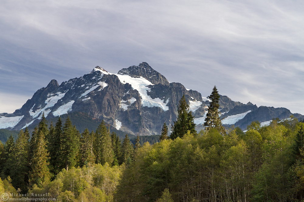 Mount Shuksan in the Mount Baker-Snoqualmie National Forest. Photographed from NF-32 near the Mount Baker Highway and Shuksan Picnic Area in Washington State, USA.
