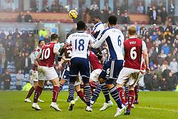 West Brom's Brown Ideye heads in the equaliser for 2-2  - Photo mandatory by-line: Matt McNulty/JMP - Mobile: 07966 386802 - 08/02/2015 - SPORT - Football - Burnley - Turf Moor - Burnley v West Brom - Barclays Premier League