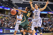 April 4, 2016; Indianapolis, Ind.; Kiki Robertson loses the ball on her way to the basket in the NCAA Division II Women's Basketball National Championship game at Bankers Life Fieldhouse between UAA and Lubbock Christian. The Seawolves lost to the Lady Chaps 78-73.