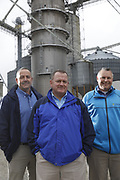 SHOT 10/29/18 9:55:00 AM - Sunrise Cooperative is a leading agricultural and energy cooperative based in Fremont, Ohio with members spanning from the Ohio River to Lake Erie. Sunrise is 100-percent farmer-owned and was formed through the merger of Trupointe Cooperative and Sunrise Cooperative on September 1, 2016. Photographed at the Clyde, Ohio grain elevator was George D. Secor President / CEO and John Lowry<br /> Chairman of the Board of Directors with  CoBank RM Gary Weidenborner. (Photo by Marc Piscotty © 2018)