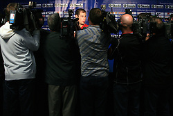 Ryan Getzlaf of Canada in mix zone with journalists after the ice-hockey game Canada vs Finland at Qualifying round Group F of IIHF WC 2008 in Halifax, on May 12, 2008 in Metro Center, Halifax, Nova Scotia, Canada. Canada won 6:3. (Photo by Vid Ponikvar / Sportal Images)