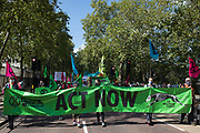 Climate activists from Extinction Rebellion march to a Back The Bill rally in Parliament Square from Buckingham Palace on 1st September 2020 in London, United Kingdom. Extinction Rebellion activists are attending a series of September Rebellion protests around the UK to call on politicians to back the Climate and Ecological Emergency Bill (CEE Bill) which requires, among other measures, a serious plan to deal with the UK's share of emissions and to halt critical rises in global temperatures and for ordinary people to be involved in future environmental planning by means of a Citizens' Assembly.