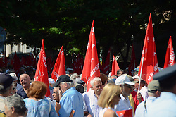 June 15, 2017 - Athens, Attiki, Greece - Greek retirees demonstrate in Athens, demanding from the government to stop the austerity measures, to stop the cuts in their pensions and benefits and to rise their pensions to the pre-austerity levels. (Credit Image: © George Panagakis/Pacific Press via ZUMA Wire)