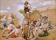 Joseph Reveals his Dream to His Brethren. Gouache paint on cardboard by James Tissot  1896-1902