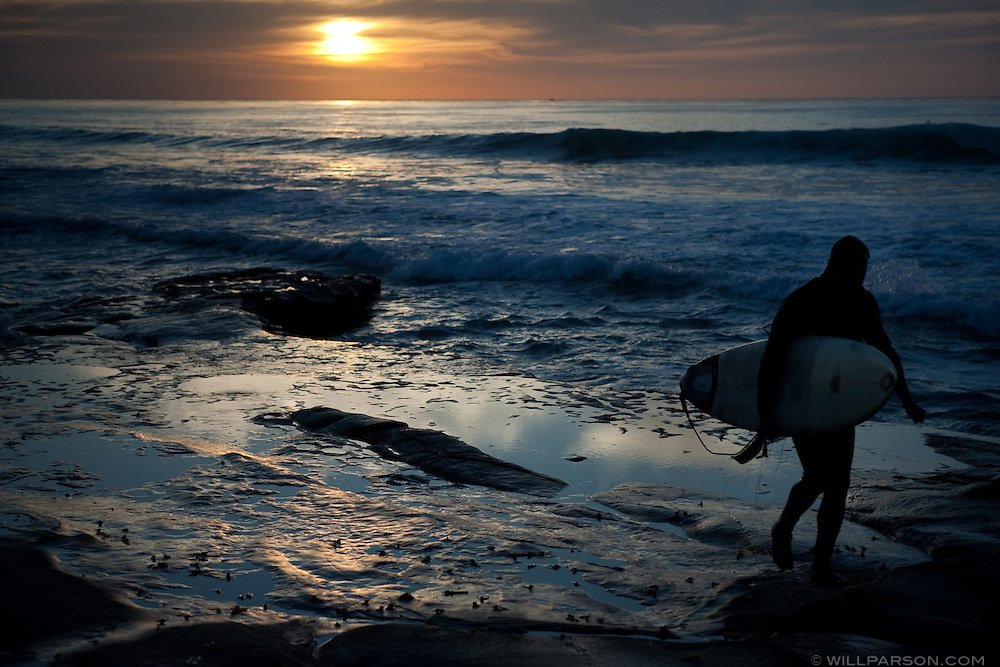 A surfer finishes a set in La Jolla, California on December 10.