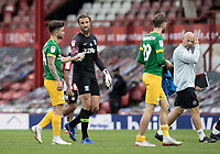 Preston North End's Declan Rudd (2nd left) with team mate Sean Maguire at the end of the match <br /> <br /> Photographer Andrew Kearns/CameraSport<br /> <br /> The EFL Sky Bet Championship - Brentford v Preston North End - Wednesday 15th July 2020 - Griffin Park - Brentford <br /> <br /> World Copyright © 2020 CameraSport. All rights reserved. 43 Linden Ave. Countesthorpe. Leicester. England. LE8 5PG - Tel: +44 (0) 116 277 4147 - admin@camerasport.com - www.camerasport.com