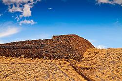 massive stone structure of Puukohola Heiau - the temple on the whale hill, the largest and last heiau constructed in 1790-91 by Kamehameha I, Puukohola Heiau National Historic Site, Kawaihae, Kohala, Big Island, Hawaii, USA