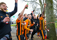 Hull City players celebrate with the fans after the match<br /> <br /> Photographer Alex Dodd/CameraSport<br /> <br /> The EFL Sky Bet League One - Hull City v Wigan Athletic - Saturday 1st May 2021 - KCOM Stadium - Kingston upon Hull<br /> <br /> World Copyright © 2021 CameraSport. All rights reserved. 43 Linden Ave. Countesthorpe. Leicester. England. LE8 5PG - Tel: +44 (0) 116 277 4147 - admin@camerasport.com - www.camerasport.com