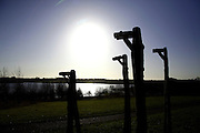 Sculptures keep watch over water users at Brixworth Country Park, northamptonshire