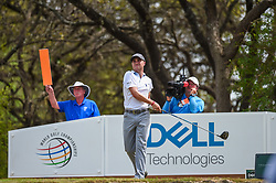 March 24, 2018 - Austin, TX, U.S. - AUSTIN, TX - MARCH 24: Justin Thomas watches his tee shot during the quarterfinals of the WGC-Dell Technologies Match Play on March 24, 2018 at Austin Country Club in Austin, TX. (Photo by Daniel Dunn/Icon Sportswire) (Credit Image: © Daniel Dunn/Icon SMI via ZUMA Press)