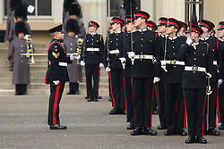 Sandhurst officer cadets ahead of the arrival of the Duke of Cambridge, who will represent the Queen as the Reviewing Officer at The Sovereign's Parade at Royal Military Academy Sandhurst in Camberley.