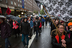 London, UK. 12 October, 2019. Climate activists from Extinction Rebellion march close to Russell Square following a funeral procession from Marble Arch on the sixth day of International Rebellion protests. Credit: Mark Kerrison/Alamy Live News
