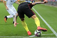 Nicolas Otamendi of Manchester city keeps the ball in play.  Premier league match, Swansea city v Manchester city at the Liberty Stadium in Swansea, South Wales on Saturday 24th September 2016.<br /> pic by Andrew Orchard, Andrew Orchard sports photography.