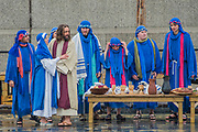 The last supper - The Wintershall Players open-air re-enactment of 'The Passion of Jesus' on Good Friday in the rain in Trafalgar Square. It featured a cast of over 100 volunteers from in and around London.
