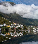 Traditional houses in the industrial town Odda at the bottom of Sörfjord, Hardanger, Norway.