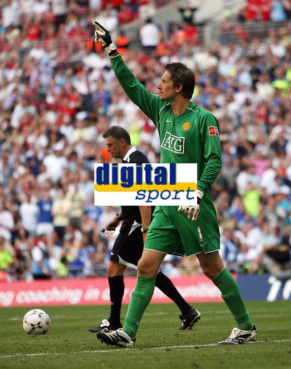 Photo: Rich Eaton.<br /> <br /> Manchester United v Chelsea. FA Community Shield. 05/08/2007. Manchester United's goalkeeper Edwin Van der Sar celebrates saving a penalty.