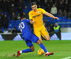 Jordan Hugill of Preston North End is fouled by Loic Damour of Cardiff City - Mandatory by-line: Nizaam Jones/JMP - 29/12/2017 -  FOOTBALL - Cardiff City Stadium - Cardiff, Wales -  Cardiff City v Preston North End - Sky Bet Championship