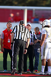 03 September 2016:  Referee Darren Haas performs the coin toss. NCAA FCS Football game between Valparaiso Crusaders and Illinois State Redbirds at Hancock Stadium in Normal IL (Photo by Alan Look)