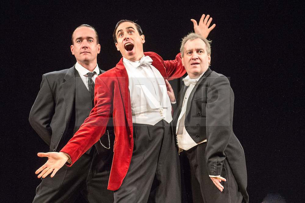 © Licensed to London News Pictures. 05/11/2013. Perfect Nonsense is adapted from the Jeeves and Wooster stories of P.G. Wodehouse. Sean Foley will directs Matthew Macfadyen and Stephen Mangan as the legendary duo  at the Duke of York's Theatre. Picture shows Matthew Macfadyen (Jeeves), Stephen Mangan (Bertie Wooster) and Mark Hadfield (Steppings). Photo credit: Tony Nandi/LNP.