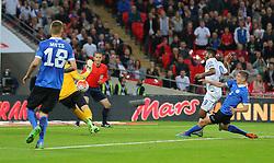 Raheem Sterling of England scores to make it 2-0 - Mandatory byline: Paul Terry/JMP - 07966 386802 - 09/10/2015 - FOOTBALL - Wembley Stadium - London, England - England v Estonia - European Championship Qualifying - Group E