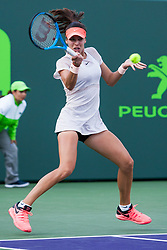 March 22, 2018 - Key Biscayne, FL, U.S. - KEY BISCAYNE, FL - MARCH 22: Ajla Tomljanovic (AUS) in action on Day 4 of the Miami Open on March 22, 2018, at Crandon Park Tennis Center in Key Biscayne, FL. (Photo by Aaron Gilbert/Icon Sportswire) (Credit Image: © Aaron Gilbert/Icon SMI via ZUMA Press)