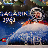 World record breaker mosaic image of Russian astronaut Yuri Gagarin in Budapest, Hungary on March 27, 2011..The 30 square meters large mosaic image is made up from 470 016 Lego pieces and was built to celebrate the 50th anniversary of the first space flight. The national record is alredy validated and the international Guinness Record validation is in progress. ATTILA VOLGYI