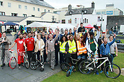 Catherine Connolly TD and Deputy Mayor Cllr Neill McNeilus with volunteers   at the opening of the Galway Bike Festival on Saturday. Photo:-XPOURE.IE / NO FEE