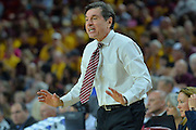 March 18, 2016; Tempe, Ariz;  New Mexico State Aggies head coach Mark Trakh encourages his team during a game between No. 2 Arizona State Sun Devils and No. 15 New Mexico State Aggies in the first round of the 2016 NCAA Division I Women's Basketball Championship in Tempe, Ariz. The Sun Devils defeated the Aggies 74-52.