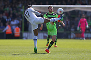 Forest Green Rovers Liam Noble(15) battles with Dagenham's Andre Boucaud(17) during the Vanarama National League Play Off second leg match between Forest Green Rovers and Dagenham and Redbridge at the New Lawn, Forest Green, United Kingdom on 7 May 2017. Photo by Shane Healey.