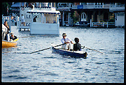 Henley, GREAT BRITAIN,   Spectators rowing close to the booms  Henley Royal Regatta, Henley Reach, 2-6 July 1997, Henley, ENGLAND [Mandatory Credit, Peter Spurrier/Intersport-images] Messing about on the River 1997 Henley Royal Regatta, Henley, Great Britain