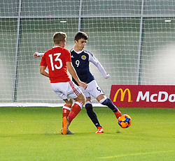 Scotland's Jamie Semple (9) scoring their second goal. half time : Scotland 2 v 0 Wales, Under 16 Victory Shield, Oriam 1/11/2016.