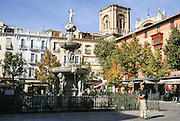 Plaza Bib-Rambla with the Cathedral in the background Granada, Andalusia, Spain