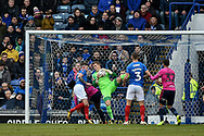 Portsmouth Goalkeeper, Craig MacGillivray (15) makes a save during the The FA Cup fourth round match between Portsmouth and Queens Park Rangers at Fratton Park, Portsmouth, England on 26 January 2019.