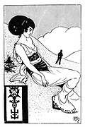 "(Woman sitting on a hillside drawn in the style of Aubrey Beardsley. Illustrates ""The Woman Who Wouldn't Do. [She-Note Series]"")"