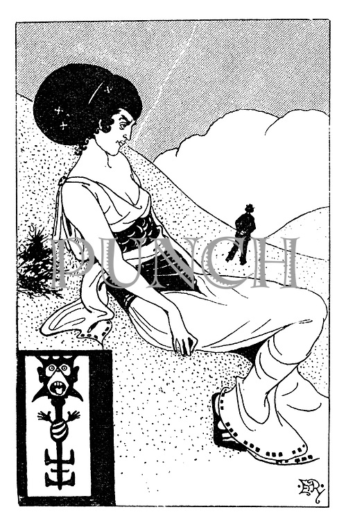 """(Woman sitting on a hillside drawn in the style of Aubrey Beardsley. Illustrates """"The Woman Who Wouldn't Do. [She-Note Series]"""")"""