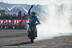 Aldo De Giovanni's Aero Motorcycles E-Racer does a demo at Motor Bike Expo. Verona, Italy. Sunday January 21, 2018. Photography ©2018 Michael Lichter.
