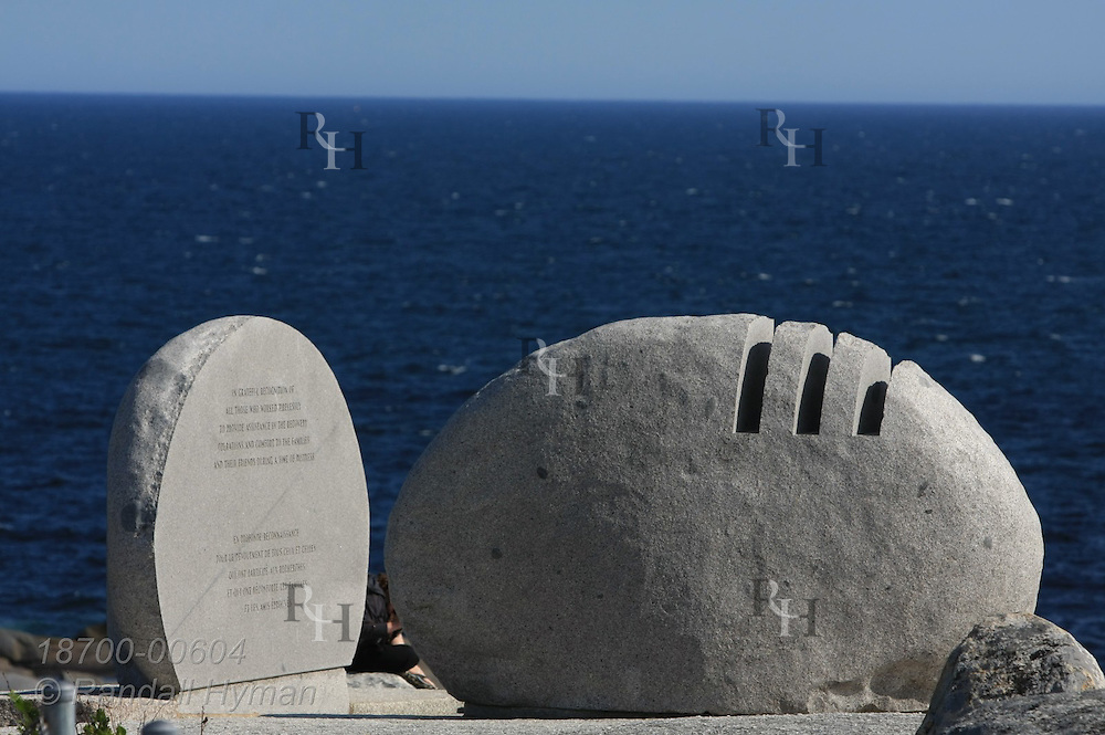 Granite memorial to passengers and crew of Swissair #111 which crashed on September 2, 1998 in St. Margarets Bay off the shore of Peggys Cove, Nova Scotia, Canada.