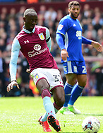 Albert Adomah of Aston Villa in action.  EFL Skybet championship match, Aston Villa v Birmingham city at Villa Park in Birmingham, The Midlands on Sunday 23rd April 2017.<br /> pic by Bradley Collyer, Andrew Orchard sports photography.