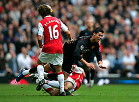 Photo: Tom Dulat/Sportsbeat Images.<br /> <br /> Arsenal v Manchester United. The FA Barclays Premiership. 03/11/2007.<br /> <br /> Gael Clichy of Arsenal pushes down Cristiano Ronaldo of Manchester United.
