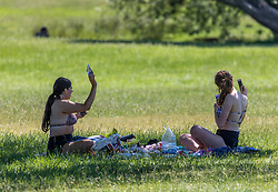Licensed to London News Pictures. 09/06/2021. London, UK. Picnickers enjoy the warm weather in Richmond Park, southwest London today. Weather experts have forecast very warm weather for the South East and London this week with temperatures predicted to hit up to 30c at the weekend. Photo credit: Alex Lentati/LNP